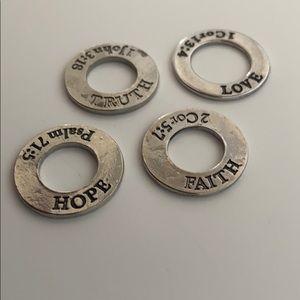 Love, faith, truth, hope silver ring charms